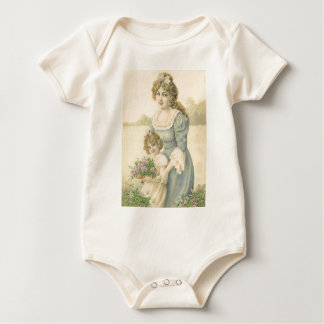 Victorian Mom Daughter Picking Flowers Mother'sDay Creeper
