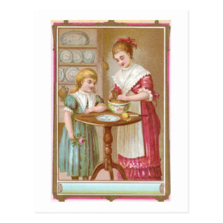 Victorian Mother and Daughter Baking Postcard