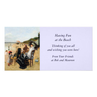 Victorian Mother and Daughter Beachside Custom Photo Card