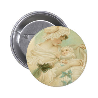 Victorian Mother Holding Child Mother's Day Card 6 Cm Round Badge