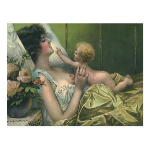 Victorian Mother & New Baby Mother's Day Card Post Card