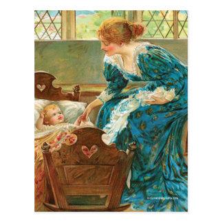 Victorian Mother Tending Her Baby In A Cradle Postcard