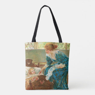 Victorian Mother Tending Her Baby In A Cradle Tote Bag