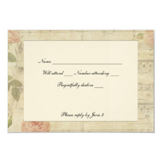 Victorian Music and Rose rsvp with envelopes Card