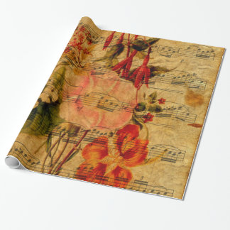 Victorian Music Sheet Watercolor Flower Wallpaper Wrapping Paper