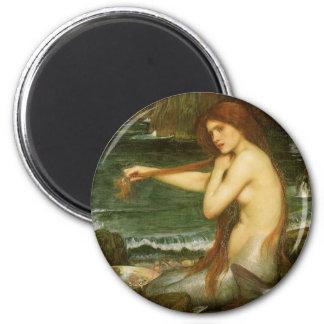 Victorian Mythology Art, Mermaid by JW Waterhouse 6 Cm Round Magnet
