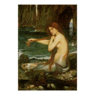 Victorian Mythology Art, Mermaid by JW Waterhouse Poster