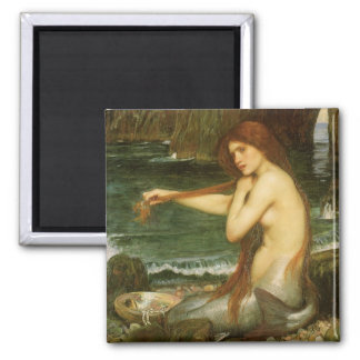Victorian Mythology Art, Mermaid by JW Waterhouse Square Magnet