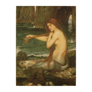 Victorian Mythology Art, Mermaid by JW Waterhouse Wood Canvas