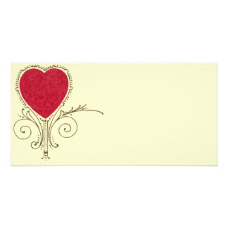 Victorian Nouveau Valentine Heart Photo Greeting Card