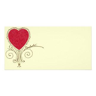 Victorian Nouveau Valentine Heart Customized Photo Card
