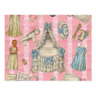 Victorian Nursery Paper Dolls Postcard
