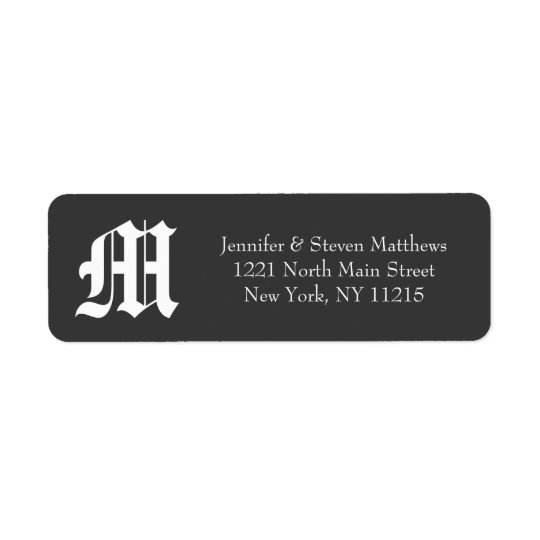 Victorian Old English Black & White Monogram Names Return Address Label