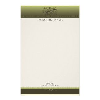 Victorian Olive Green Customized Stationery