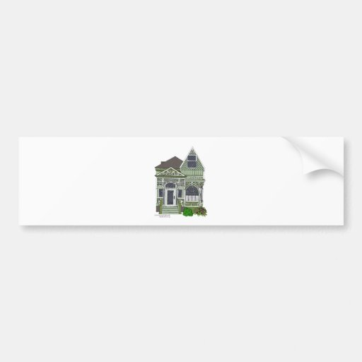 """Victorian """"Painted Lady"""" - green Bumper Sticker"""