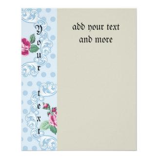 Victorian,pale blue,polka dot,pink roses,pattern, 11.5 cm x 14 cm flyer