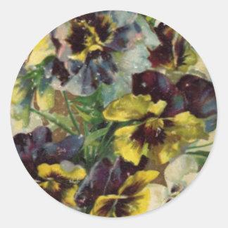 Victorian Pansies Sticker | Yellow Purple
