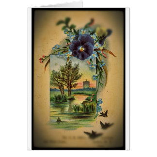 Victorian Pansy Pastoral Greeting Card