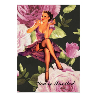 victorian Paris Botanical purple Rose Pin Up Girl Card