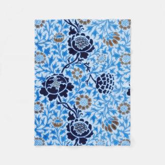 Victorian Pattern In Blue Fleece Blanket