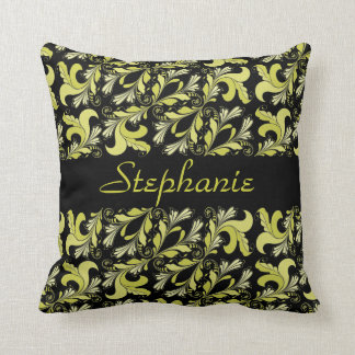 Victorian pattern, yellow, black, personalised throw pillow