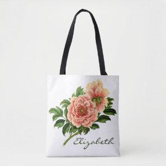 Victorian Pink Flowers & Monogrammed Name Tote Bag