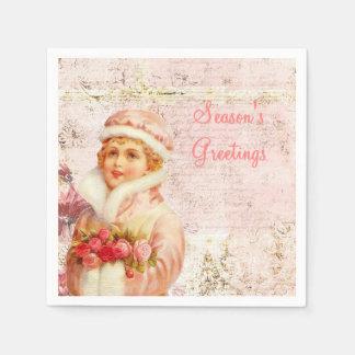 Victorian pink paper napkins disposable serviette