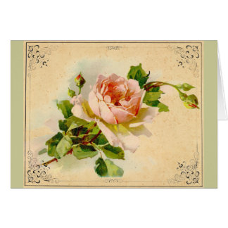 Victorian Pink Rose Card