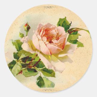 Victorian Pink Rose Classic Round Sticker