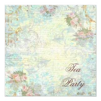 Victorian Pink Rose Tea Party 13 Cm X 13 Cm Square Invitation Card