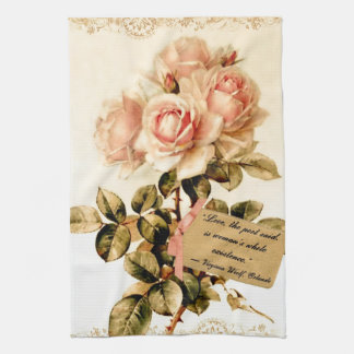 Victorian Pink Roses with Motivational Quote Tea Towel