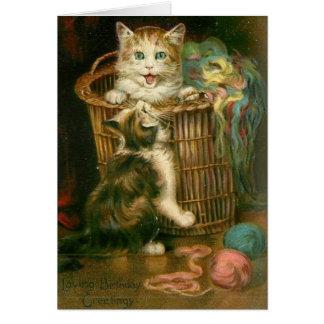Victorian Playful Kittens Birthday Card
