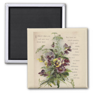 Victorian Purple Pansies Poem Magnet