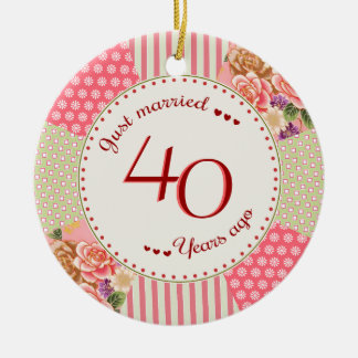 Victorian Quilt 40th Anniversary Christmas Gifts Ceramic Ornament