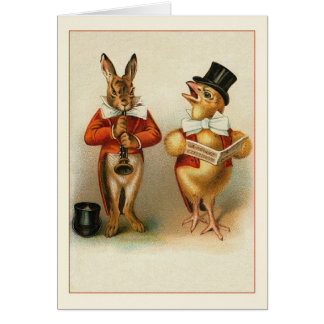 Victorian Rabbit and Chick Easter Note Card