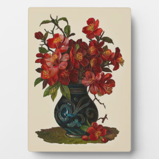 Victorian Red Flowers Decorative Tabletop Plaque