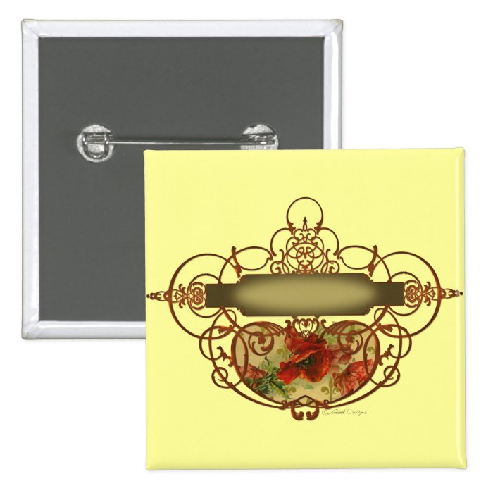 Victorian Red Poppies Memories 15 Cm Square Badge