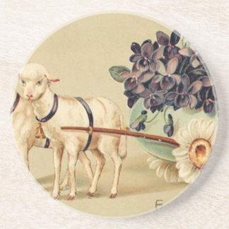 Victorian Retro Vintage Easter Greetings Coaster