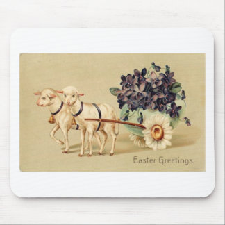 Victorian Retro Vintage Easter Greetings Mouse Pad