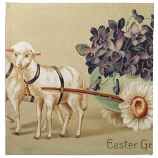 Victorian Retro Vintage Easter Greetings Napkin
