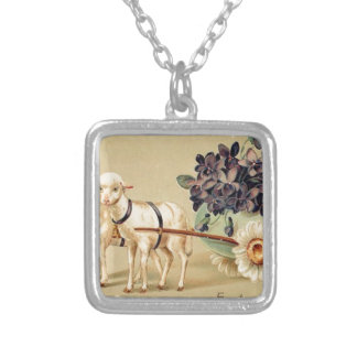 Victorian Retro Vintage Easter Greetings Silver Plated Necklace