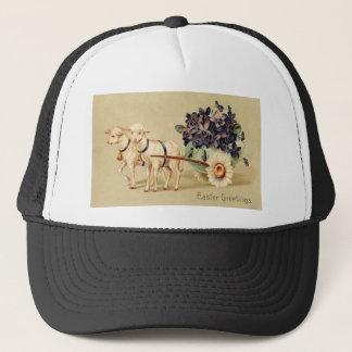 Victorian Retro Vintage Easter Greetings Trucker Hat