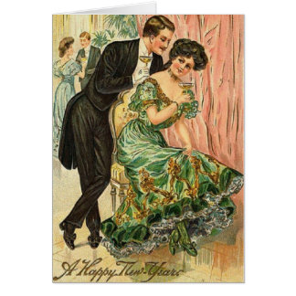 Victorian Romantic Couple New Year Card