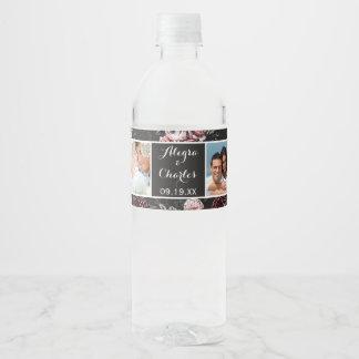Victorian Rose Black Pink Wedding Photo Collage Water Bottle Label