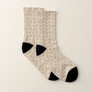 Victorian Rose Pattern Small All-Over-Print Socks 1