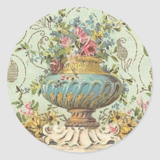 Victorian Rose Vase Round Sticker