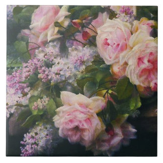 Victorian Roses and Lilacs Ceramic Tile
