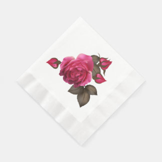 Victorian Roses Coined Luncheon Paper Napkins