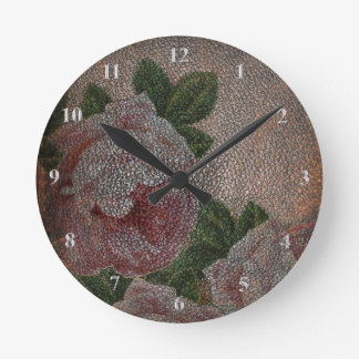 Victorian Roses Faded Faux Leather Rustic Girly Clocks