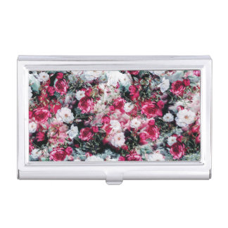 Victorian Roses Floral pink mauve white black Business Card Cases